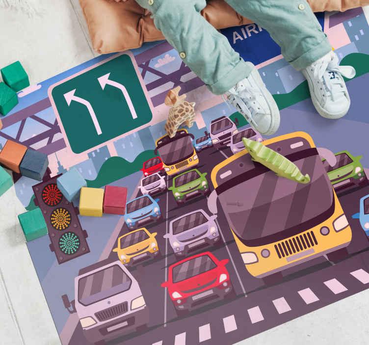 TenVinilo. Alfombra vinílica carretera tráfico tras semáforo. Sus hijos estarían tan felices con usted de tener esta alfombra vinilo carretera diseñada con semáforos y diferentes vehículos esperando