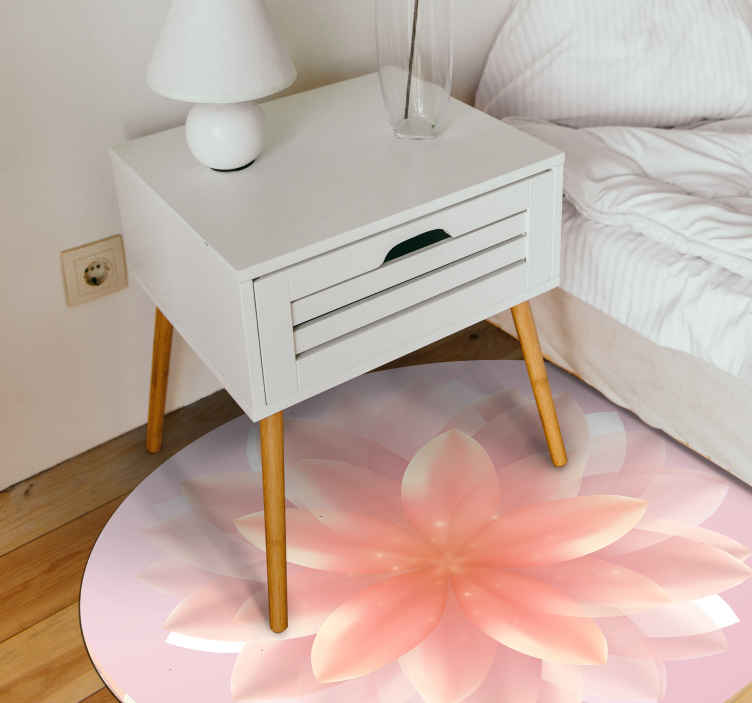 TenStickers. Lotus realistic pink flower rug. Lovely round-tip pink lotus flooring vinyl carpet for home and other space decoration. It can be placed on a bedroom floor space, kitchen, etc.