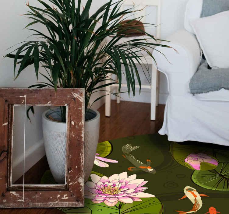 TenVinilo. Alfombra vinilo flor de loto en el agua. Alfombra vinilo redonda con diseño de flor de loto en el agua. Apto para dormitorio, sala, comedor, etc. Disponible en cualquier tamaño que desees