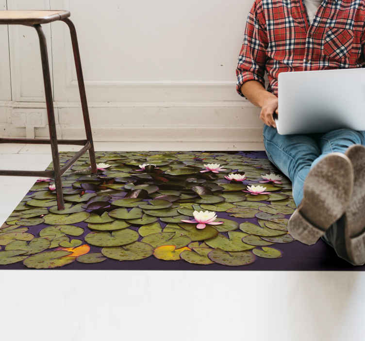 TenStickers. Lotus in pond flower rug. A realistic looking pond full of  colorful lotus flower vinyl carpet. It is manufactured with top quality vinyl and super durable.