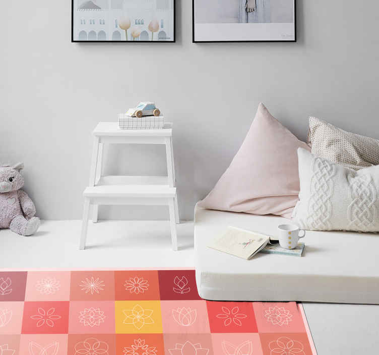 TenStickers. Lotus and other flower tiles flower rug. Colorful lotus floral vinyl rug manufacture with the best of quality vinyl there is in the market. It is durable and easy to clean.