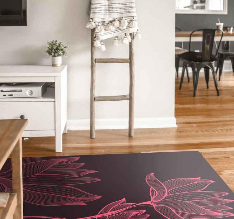TenStickers. Lotus iki çiçek halısı. Siyah zemin üzerine iki pembe lotus çiçeği ile vinil halı. Bu dekoratif ürün, yüksek kaliteli malzemeden yapılmıştır. Bunu kontrol et!