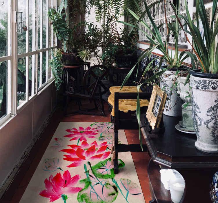 TenVinilo. Alfombra vinilo flores de loto acuarela. Alfombra vinilo floral de acuarela de loto colorida para llevar a tu lugar algo único y adorable. Disponible en cualquier tamaño que desee