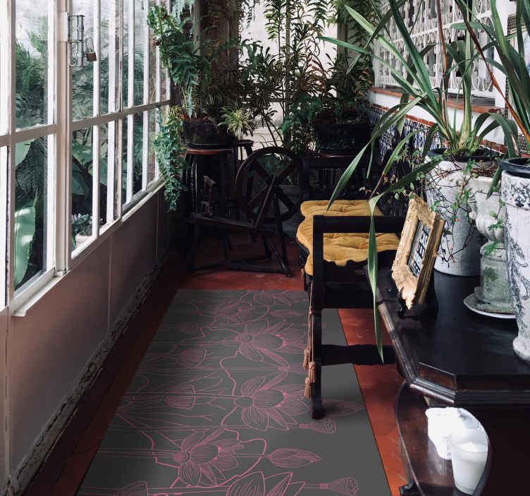 TenVinilo. Alfombra vinilo gris y rosa de flor de loto. Alfombra vinilo gris y rosa floral de flor de loto para tu pasillo, salón, oficina y hogar. Fabricado con material  de calidad y duradera