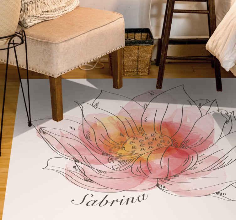 TenVinilo. Alfombra vinilo dormitorio flor loto con nombre. ¡Tenga su propio nombre dentro de esta hermosa alfombra vinilo blanca de flor de loto personalizada hoy! Muy fácil de limpiar y barrer