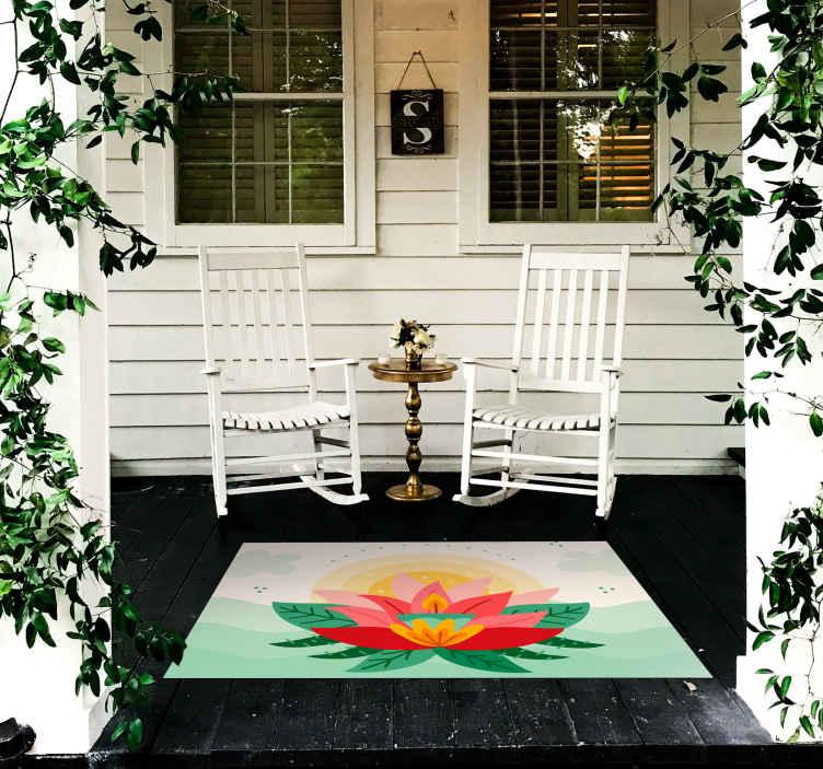 TenStickers. 莲花粉红色素描蜡烛花地毯. 为什么不今天订购这种外观精美的卡通莲花乙烯基地毯,并在短短几天之内将其放在您家门口?现在下单!