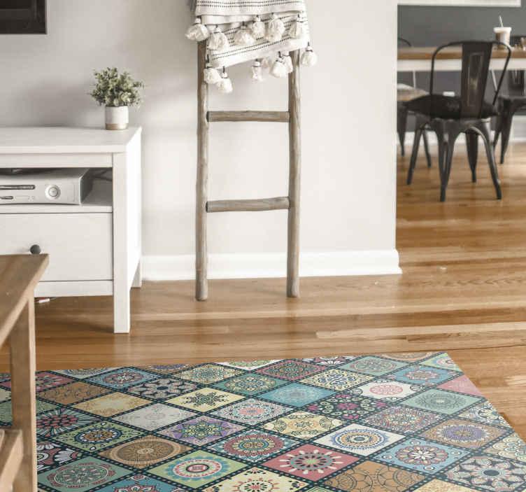 TenVinilo. Alfombra vinilo hidrúalica azulejos mandala. Fantástica alfombra vinilo hidráulica con azulejos mandala de colores lo suficientemente atractiva para decorar de forma original cualquier estancia
