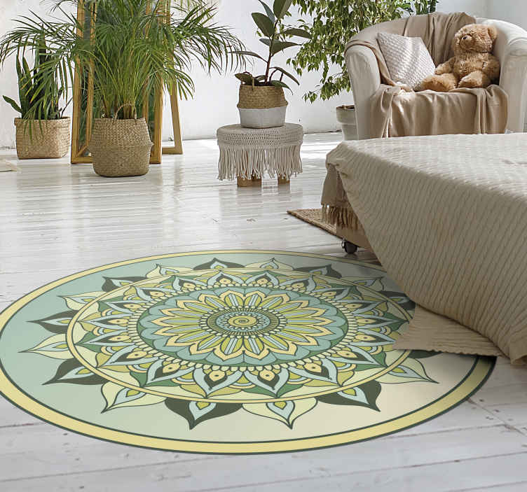 TenVinilo. Alfombra vinilo mandala color verde. Con esta hermosa alfombra vinilo mandala verde estarás decorando tu lugar con un aspecto ético interesante. Fácil de limpiar y muy duradero