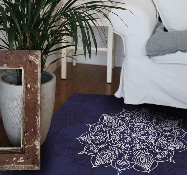 TenVinilo. Alfombra vinilo mandala flor loto espiritual . Una alfombra vinilo mandala de inspiración oriental con patrón de loto para el hogar y otros espacios. Precioso para disfrutar de una decoración zen