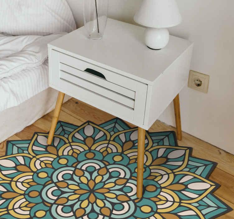 TENSTICKERS. マンダラグリーンとオレンジのマンダラマット. 家のあらゆる部分を飾るのに適した緑色の曼荼羅ビニールカーペット。それはあなたの居間、食堂、寝室または他のどんなスペースのためでもありえます。