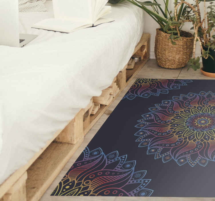 TenStickers. Brightly coloured mandala mat. Brightly coloured mandala vinyl rug for your home space. Nice for a living room, bedroom, dinning, office, etc.  Available in any size required.