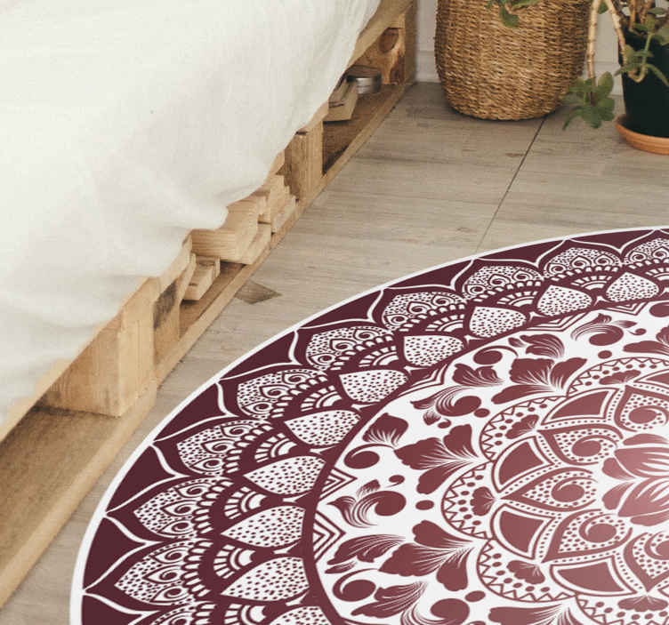 TenStickers. Circular oriental lace mandala mat. Add ethical touch to your home with our beautiful oriental mandala round vinyl carpet. Easy to clean, it is durable, anti-slip and customizable.