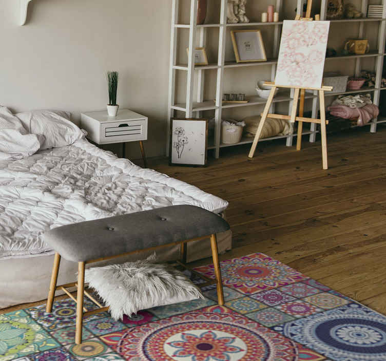 TenStickers. Mandala fayans mandala mat. Çini desenli mandala vinil halılarımız ile evinizi bilinçli olarak rengarenk oryantal tarzda dekore edebilirsiniz. Bakımı kolay ve dayanıklıdır.