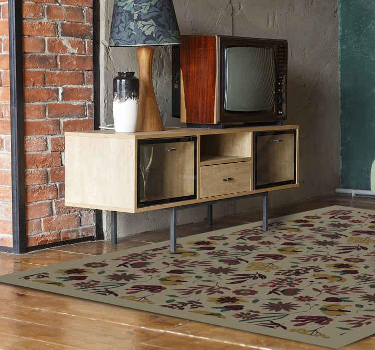 TenVinilo. Alfombra vinilo vintage beige floral. Si está aburrido de la decoración de su hogar, esta alfombra vinilo vintage eternas es lo que necesita ¡Fácil de limpiar! ¡Envío exprés!