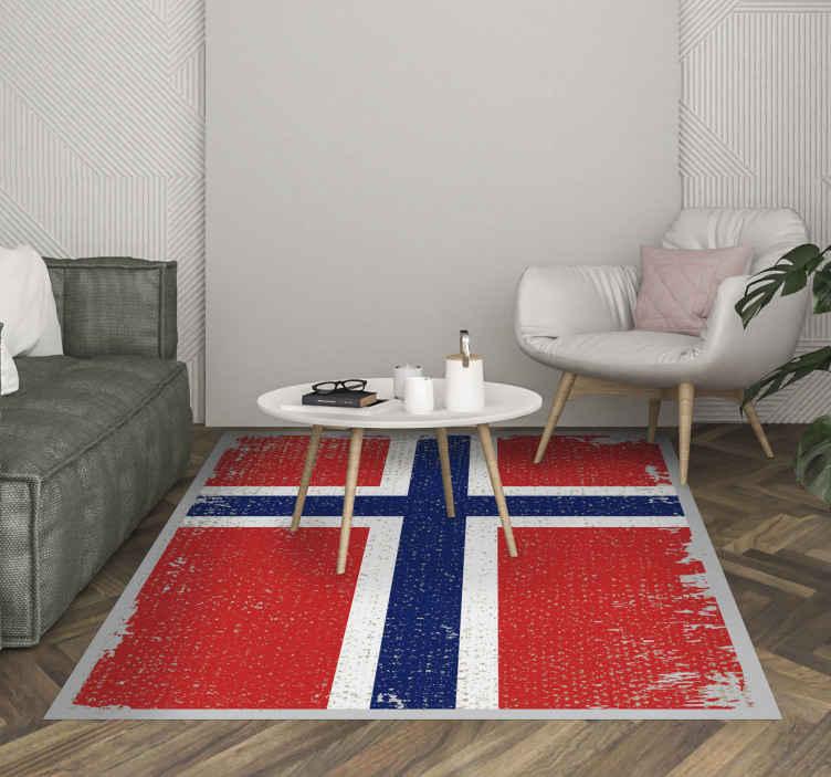 TenVinilo. Alfombra vinilo étnica bandera Noruega. Alfombra vinilo roja con la bandera de Noruega para las personas que aman el diseño de su bandera. Producto fácil y de alta calidad