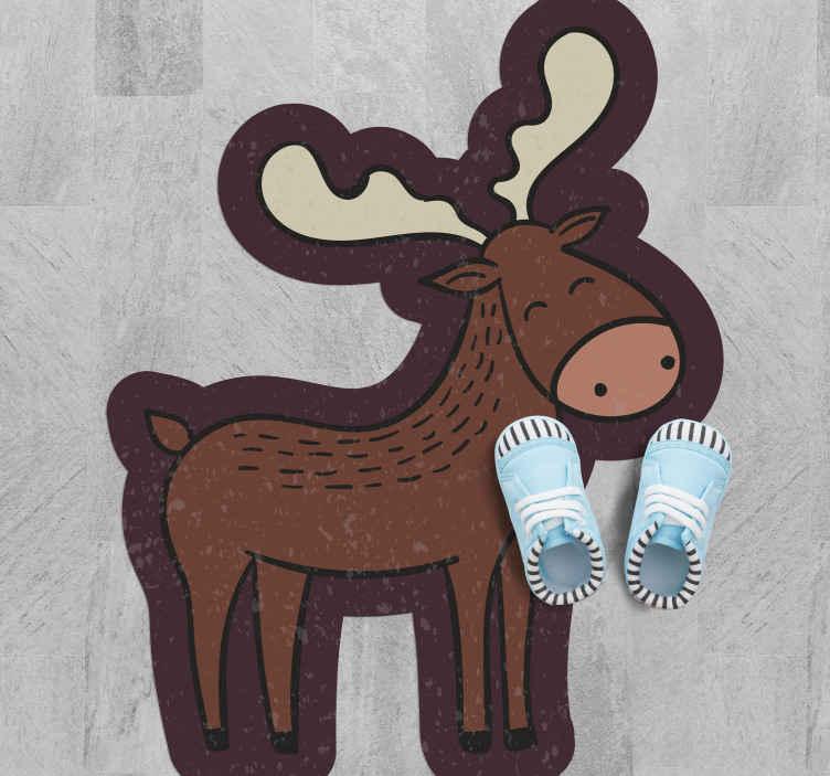 TenVinilo. Alfombra vinilo animal alce bebé. Nuestra alfombra vinilo animal de dibujos con alce marrón será una gran idea para decorar el dormitorio de sus hijos ¡Elige el tamaño!