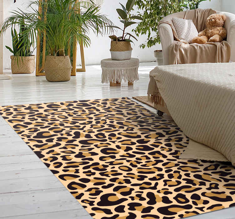 TenStickers. Leopard print animal print carpet. Perfect living room animal print vinyl rug to revamp your home space in animal inspiration style. It is manufacture with best quality vinyl.