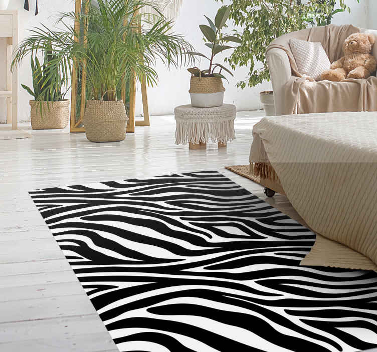 TenStickers. Zebra print animal print carpet. With our original vinyl zebra print animal floor carpet design, you can imagine the effect it would bring on your space. Available in various sizes.