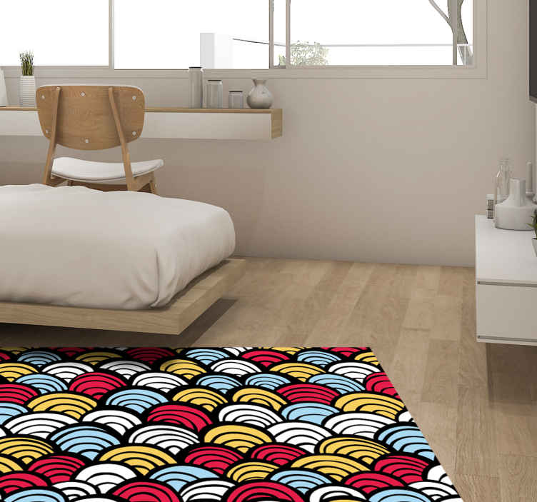 TenStickers. Fish scales animal print carpet. Multicolored fish scales print vinyl rug for home and other space decoration. Suitable to decorate any space to give a brighter touch and enhancement.