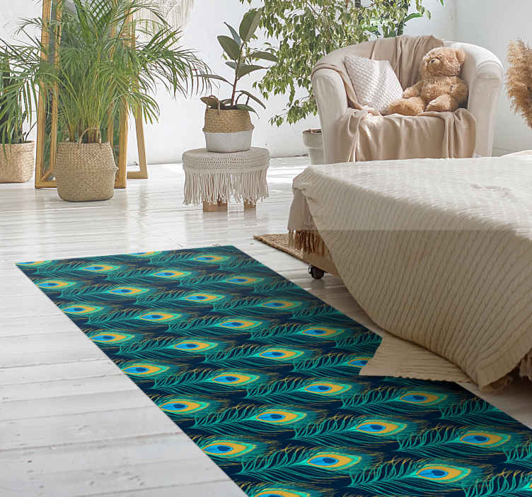 TenStickers. Peackock feather animal print carpet. Incorporate a very lovely and colorful effect on your space with our green vinyl carpet with peacock feathers design. Customizable in any dimension.