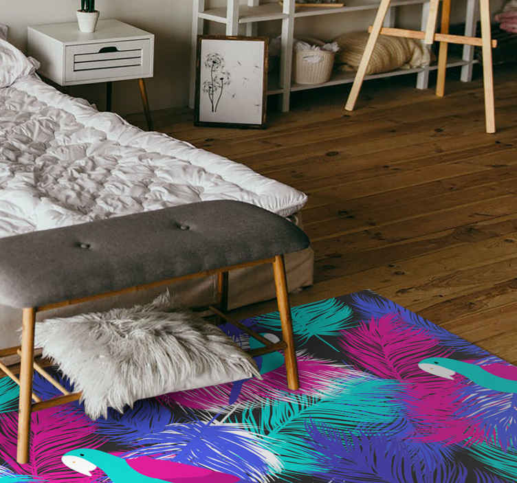 TenStickers. Parrot feathers animal print carpet. Multicolored parrot feathers animal print vinyl rug design for home and other apace decoration.  It is durable, easy to clean and customizable.