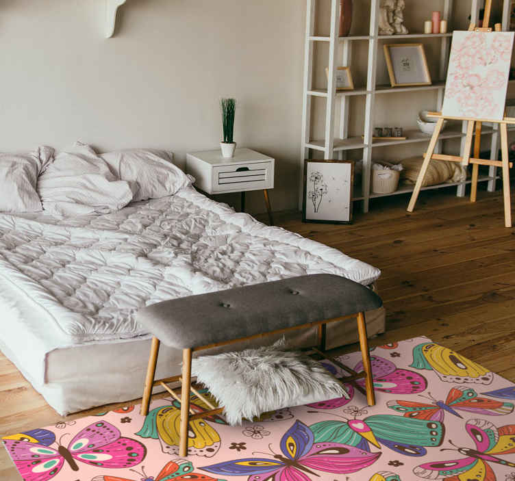 TenStickers. Butterfly wings animal print carpet. Suitable bedroom vinyl carpet for children and adult space. The carpet is patterned with colorful flying butterflies. Available in any size required.