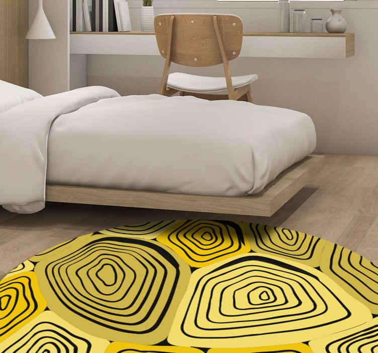 TENSTICKERS. 黄色いカメ柄のアニマルプリントカーペット. 家やその他の空間装飾用の黄色いカメ柄のアニマルプリントビニールラグ。お手入れが簡単で耐久性があり、カスタマイズ可能なサイズでご利用いただけます