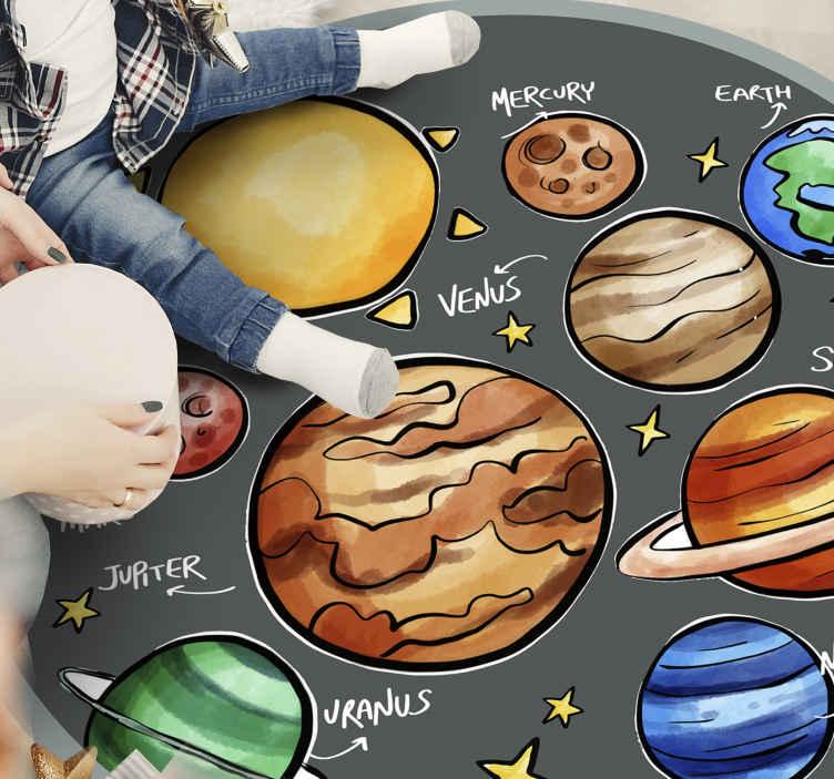 TenStickers. Planete și nume covor de vinil pentru copii. Acest covor uimitor pentru copii, din vinil, este perfect pentru a decora camera copiilor tăi. Este foarte ușor de curățat, întreținut și depozitat.