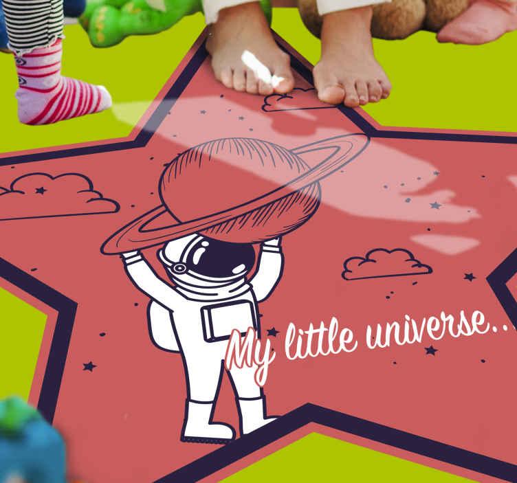 TenStickers. Tapete de vinil do meu pequeno universo kids. Tapete de vinil para crianças com o qual você pode decorar o quarto de seus filhos. Ele vai gostar por muito tempo porque é muito resistente.