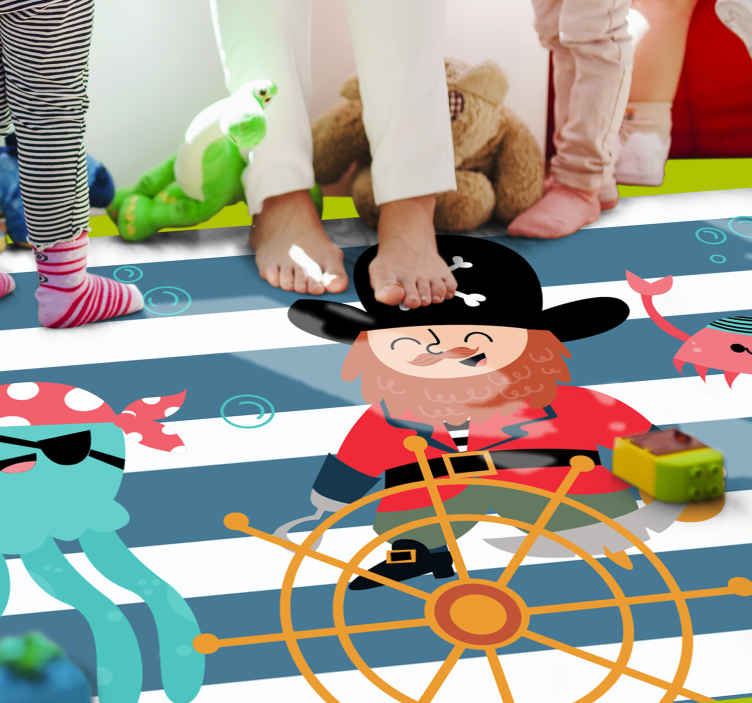 TenStickers. Pirates elements kids vinyl carpet. Do you or your children like pirates? Now you have the chance to decorate your home with this pirate-themed laminate flooring bedroom.