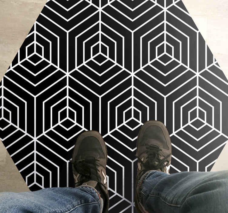TenStickers. Abstract lines hexagon shape stripes rug. Take a close and careful look at this marvelous laminate flooring bedroom. Add this contemporary rug to your cart to purchase it online now!
