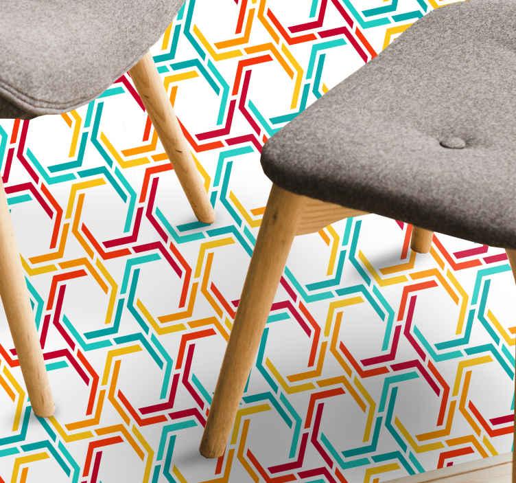 TenStickers. Tapete de vinil geométrico com padrão hexágono colorido. Tapete geométrico de vinil que apresenta um impressionante padrão de hexágonos coloridos em verde, vermelho, laranja e branco. Disponível em vários tamanhos.