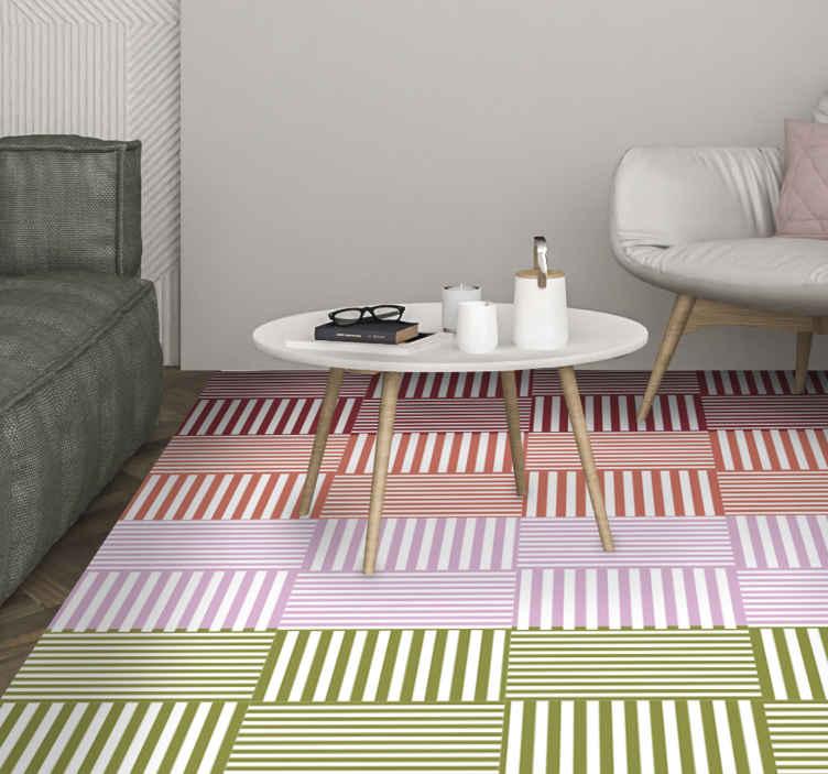 TenStickers. 彩色条纹的正方形几何乙烯基地毯. 条纹的乙烯基地毯,内部有水平和垂直条纹的正方形图案。提供折扣。高质量。