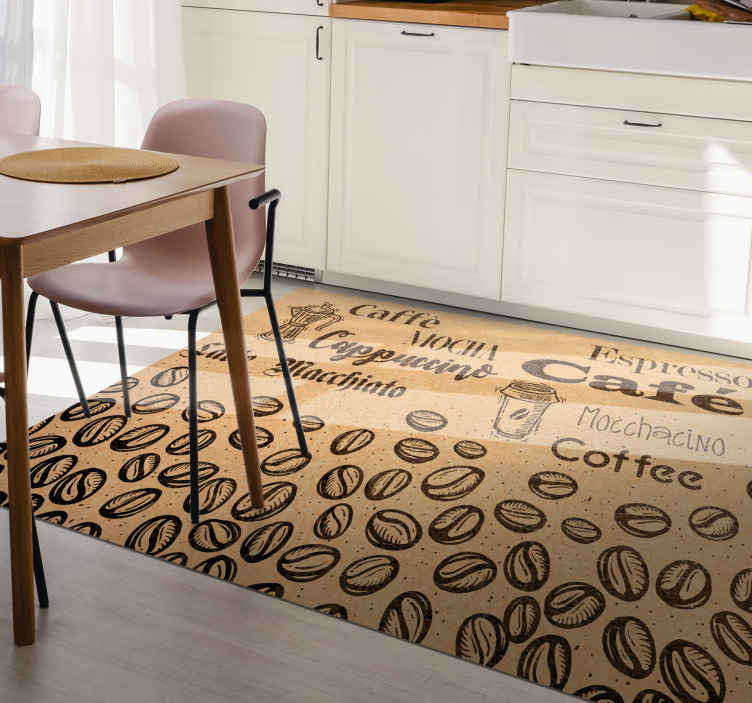 TenStickers. Italian Coffee Types vinyl rugs. Coffee vinyl rug which features different types of coffee surrounded by coffee beans. High quality materials used. Custom made.