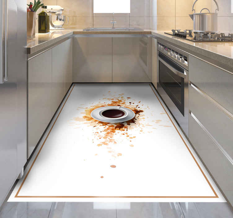 TenStickers. Coffee explosion dining room vinyl rug. Vinyl coffee rug which features an image of a cup filled with coffee exploding on to a white surface. +10,000 satisfied customers.