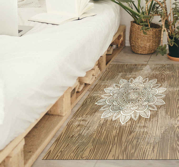 TenStickers. Decorative Floral Patterned vinyl carpet. Flower vinyl rug which features an amazing flower which is decorated with a stunning, intricate pattern. High quality materials.