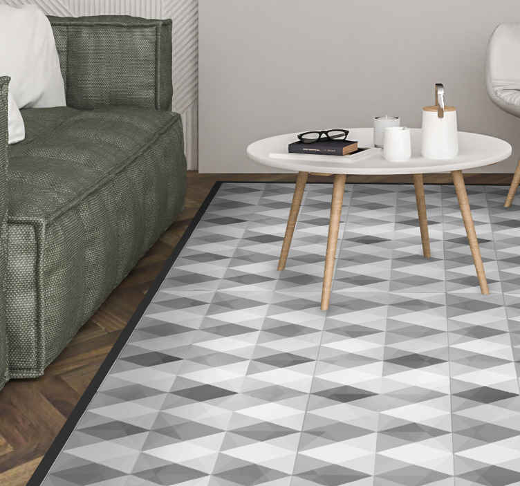TenStickers. Gray mountains geometric vinyl mat. Prismatic geometric vinyl carpet for your home and office floor decoration. The product is manufactured with quality vinyl and proof to fading.