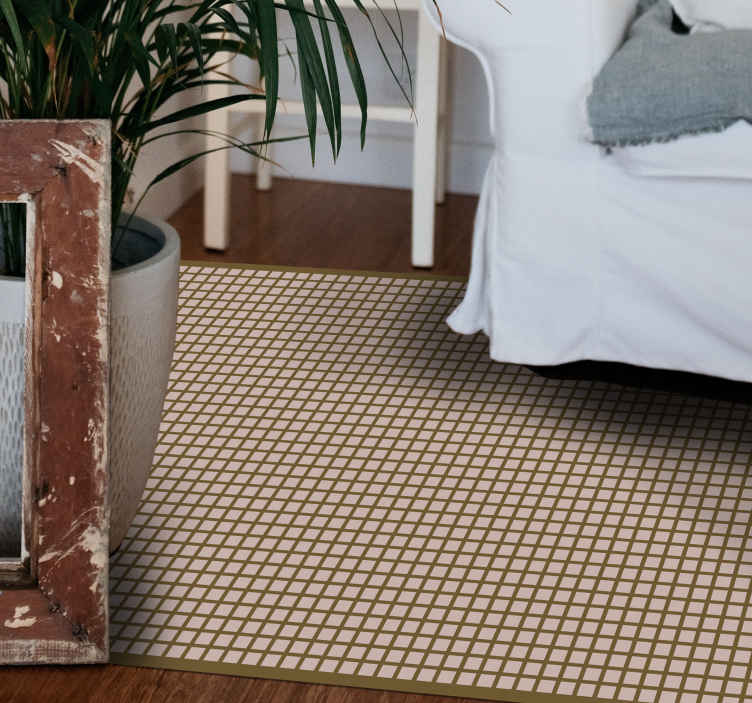 TenStickers. Beige squares geometric vinyl carpets. Beige squares geometric vinyl floor mat for your bedroom, interior space and common areas in a house. It is easy to clean without problem.