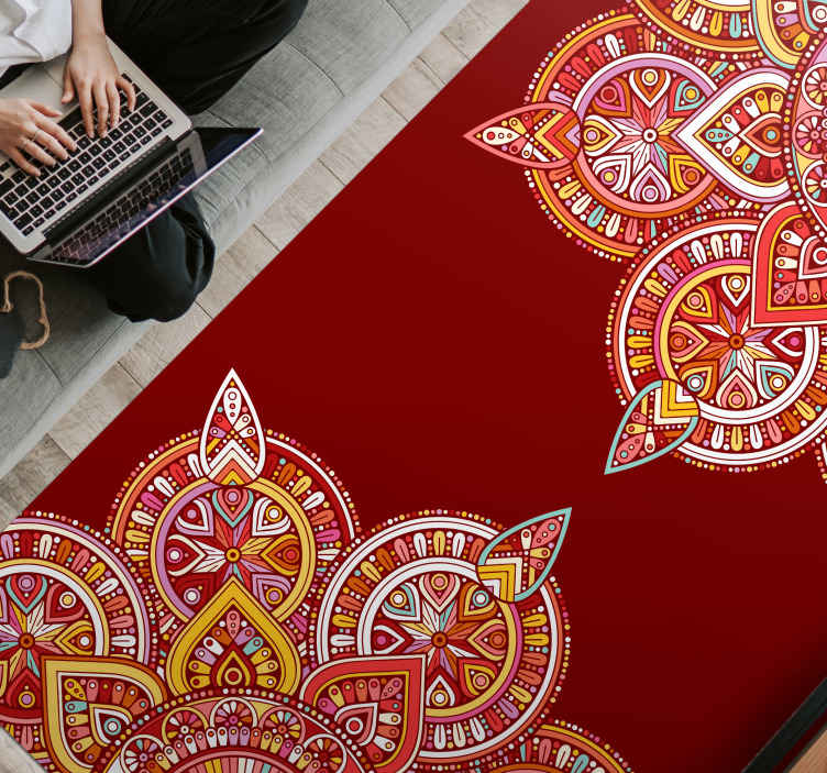 TenStickers. Ethnic red mandala ethnic style rugs. Ethical red mandala vinyl rug for your home beautification.  The carpet  is produced with high quality vinyl and easy to maintain. Available in sizes.