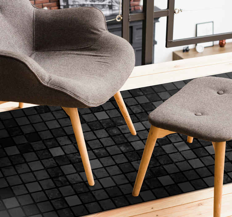 TenStickers. Black squares geometric carpets. Order this amazing looking geometric vinyl rug today, depicting a different shaded black square design. Will look amazing in the living room. Buy now!