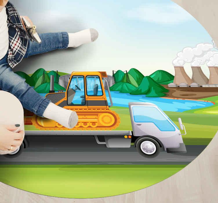 TenStickers. Tapete rodoviário de tratores e caminhões. Tapete de vinil para crianças feito de tratores amorosos com o qual poderá decorar o quarto dos seus filhos. Basta adicioná-lo ao seu carrinho agora!