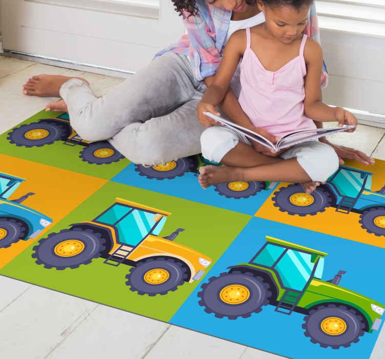 TenStickers. Azulejos de trator multicoloridos carpete infantil de vinil. Dê um toque colorido ao quarto do seu filho com nosso lindo quarto com piso laminado! O tapete está disponível em diversos tamanhos.