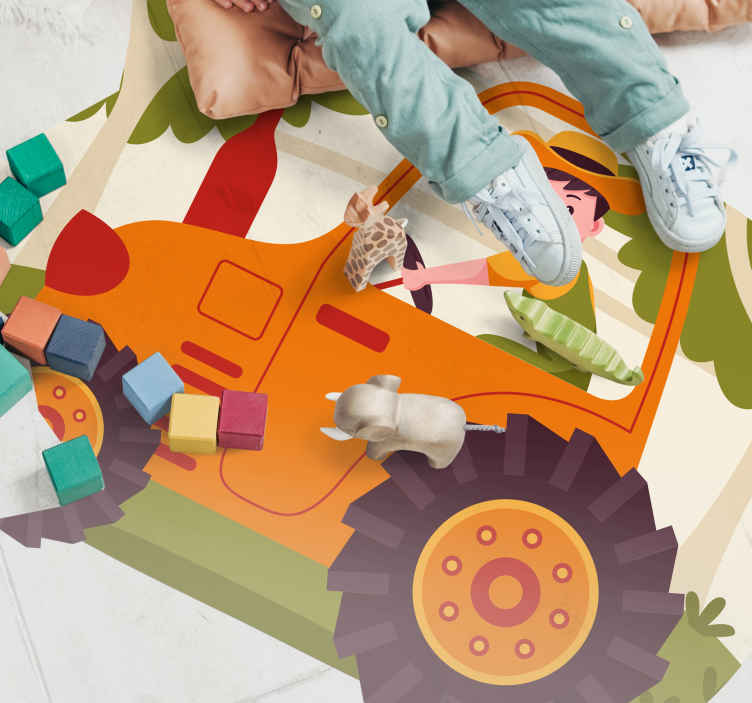 TenStickers. Plain Orange Tractor kids vinyl carpet. this kids vinyl rug is the perfect option for you! it can help you in decorating your son's bedroom in an innovative way!
