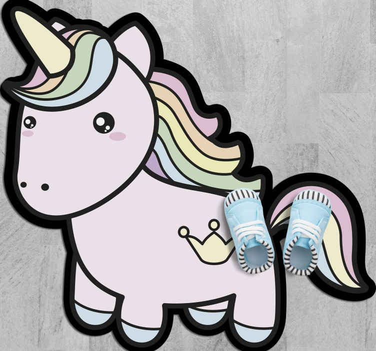 TenStickers. Anime Cartoon Unicorn vinyl rug. Unicorn vinyl rug which features an adorable image of a unicorn coloured in various pastel shades. Available in various sizes.