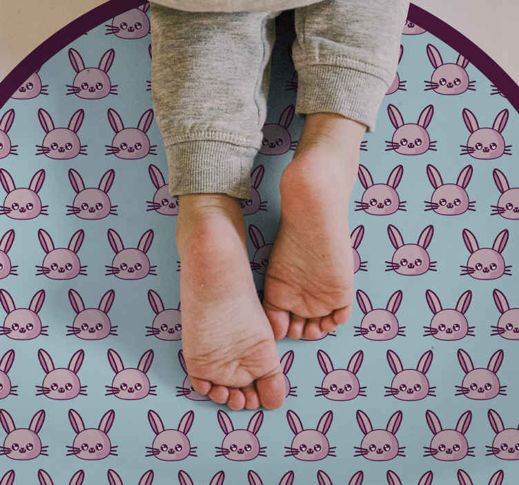 TenStickers. Anime Rabbit Pattern animal vinyl mat. Animal vinyl rug which features a cute pattern of pink cartoon rabbits all with a smile on their face. Choose your size.
