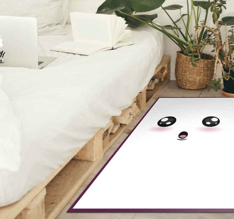 TenStickers. Cute anime eyes teenage vinyl rugs for bedrooms. Anime vinyl rug which features a face with cute anime eyes and a surprised look. +10,000 satisfied customers. High quality.