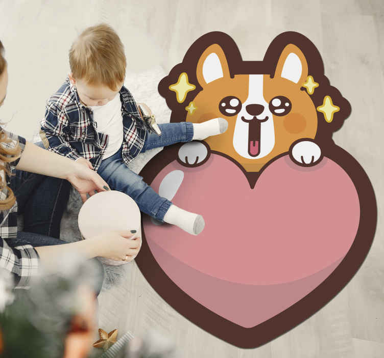 TenStickers. Anime câine animal vinil mat. Covor anime din vinil pentru copii, care prezintă o imagine drăguță a unui câine de desene animate care arată deasupra unei inimi roz gigant. Vinil anti-bule.