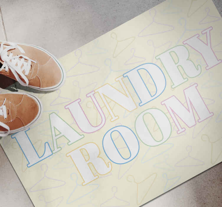 """TenStickers. Laundry room hanger bespoke rugs. Grey vinyl rug with the text """"Laundry room"""" with colored letters, perfect for positioning in your laundry room. Discounts available."""