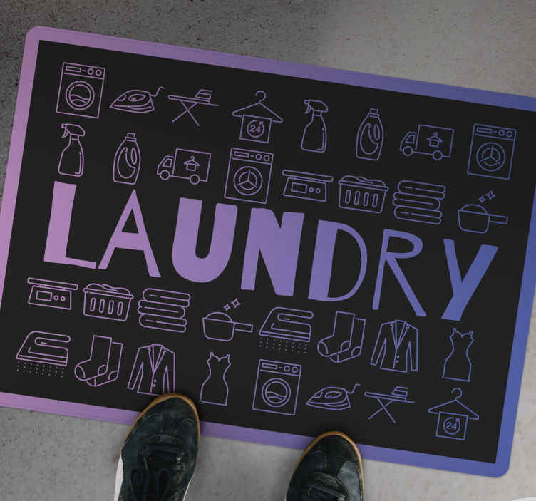 TenStickers. Laundry clean symbols bespoke rugs. Perfect laundry room featured vinyl floor carpet design perfect to decorate an indoor or out door space.  The carpet size is customizable to any need.