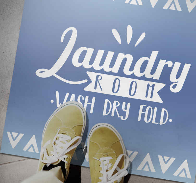 TenStickers. Laundry room blue bespoke vinyl mat. Wash, dry, fold laundry room custom vinyl rug.  It is produced with top quality vinyl which makes it able to withstand external effects and fading.